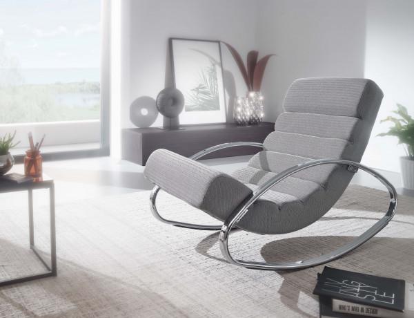 WOHNLING Relaxliege Grau / Silber 110 kg Belastbar Relaxsessel