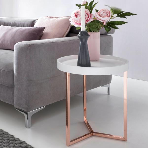 WOHNLING Design Beistelltisch Weiß / Kupfer 40 cm Tabletttisch Metall