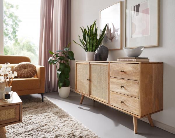 WOHNLING Design Sideboard Mango mit 3 Schubladen