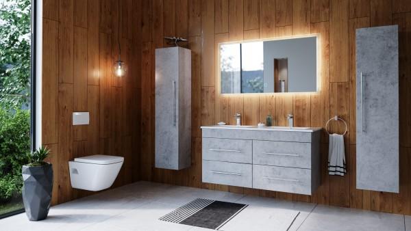 Posseik Badmöbelset Argos 120 cm Beton inkl. LED Spiegel mit Touch-Funktion