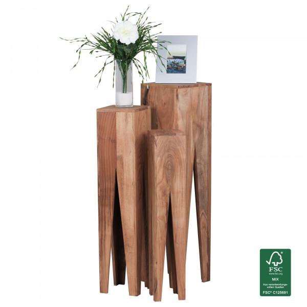 WOHNLING Beistelltisch 3er Set KADA Massivholz Akazie Wohnzimmer-Tisch Design Säulen