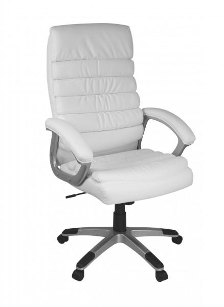 AMSTYLE Bürostuhl VALENCIA Kunstleder Weiß ergonomisch mit Kopfstütze | Design Chefsessel