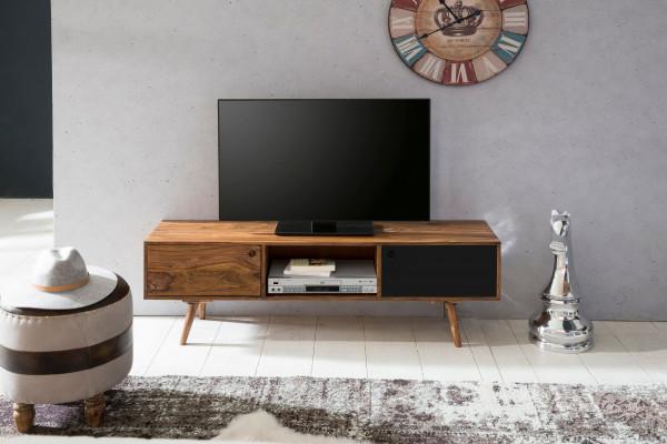 WOHNLING TV Lowboard REPA 140 cm Massiv-Holz Sheesham braun/schwarz