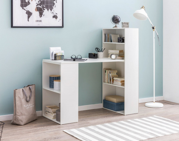 WOHNLING Schreibtisch Samson mit Regal 120 x 120 x 53 cm Weiß Matt Modern | Schreibtischregal