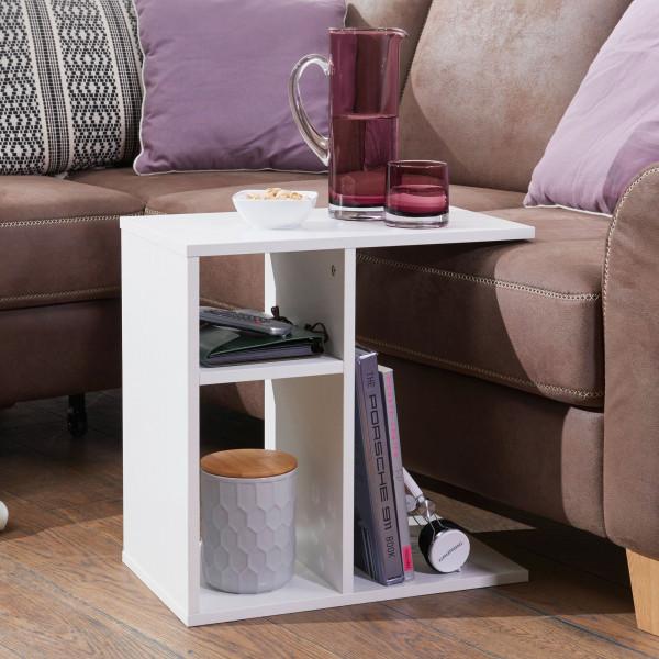 WOHNLING Beistelltisch MILO Holz Weiß Design Anstelltisch Sofa