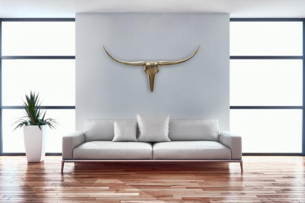 Wohnling Wanddekoration Geweih Bull L 125 cm Aluminium golden