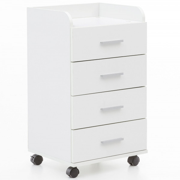 WOHNLING Rollcontainer Kent 40 x 70,5 x 33 cm Weiß | Schreibtisch-Container Rollschrank