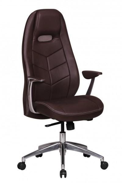 Amstyle Bürostuhl BARI Echt-Leder Braun Schreibtischstuhl mit Armlehne Chefsessel Synchronmechanik