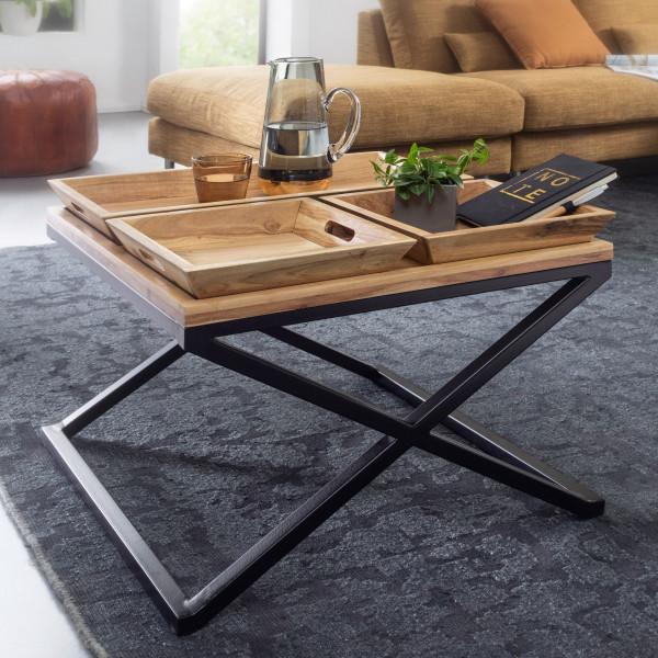 WOHNLING Couchtisch 60x47,5x60 cm Akazie Massivholz / Metall Tabletttisch