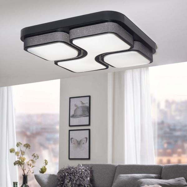 WOHNLING Design LED-Deckenleuchte GEOMETRIC Deckenlampe schwarz 32W A+