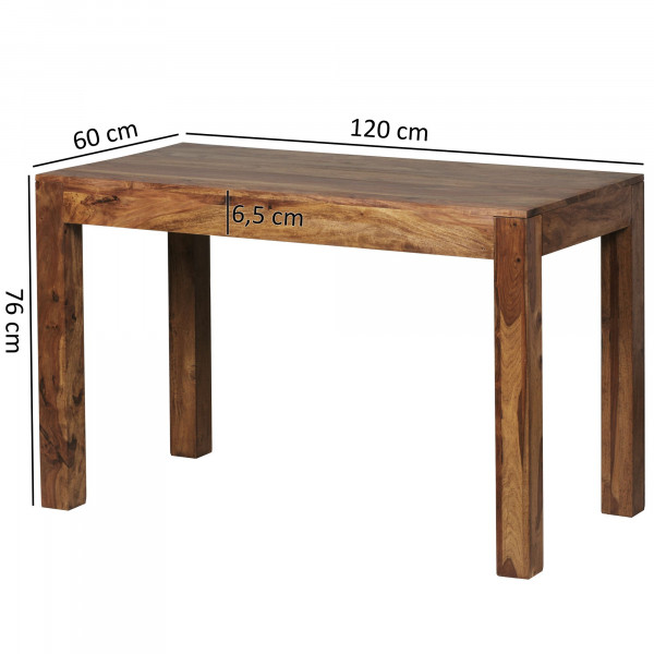 WOHNLING Esstisch MUMBAI Massivholz Sheesham 120 cm
