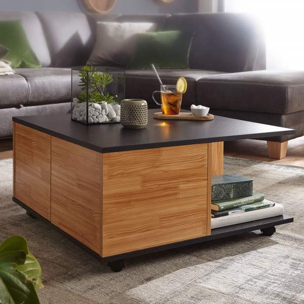 WOHNLING Design Couchtisch 70x70 cm Anthrazit / Sandeiche