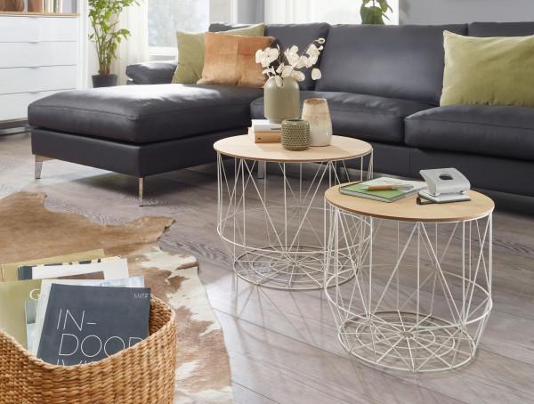 WOHNLING Design Beistelltisch 2er Set aus Körben Weiß / Eiche