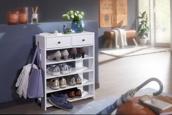 WOHNLING Design Schuhregal 60 x 79 x 24 cm Flurregal Weiß