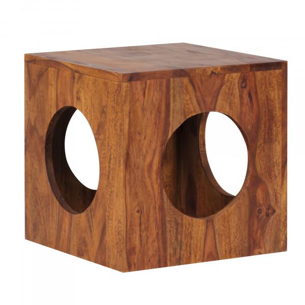 WOHNLING Beistelltisch MUMBAI Massivholz Sheesham 35x35 cm Cube