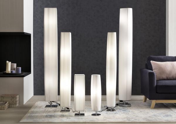 Tischlampe 60 cm eckig weiß chrom