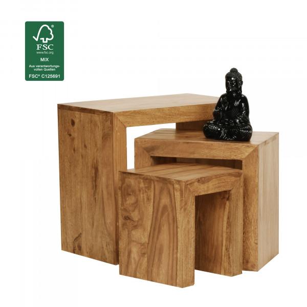 WOHNLING 3er Set Satztisch MUMBAI Massiv-Holz Akazie