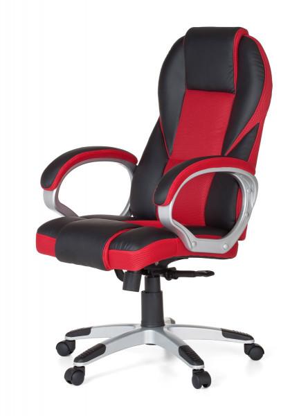 Amstyle Bürostuhl RACE Rot Gaming Chefsessel mit Armlehne Racer Sportsitz Drehstuhl Kopfstütze