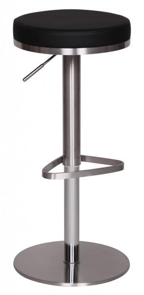 WOHNLING Barhocker Schwarz Edelstahl höhenverstellbare Sitzhöhe 57 - 82 cm