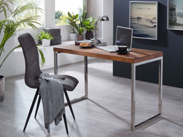 WOHNLING Schreibtisch GUNA Massivholz Sheesham Computertisch 120 x 60 cm