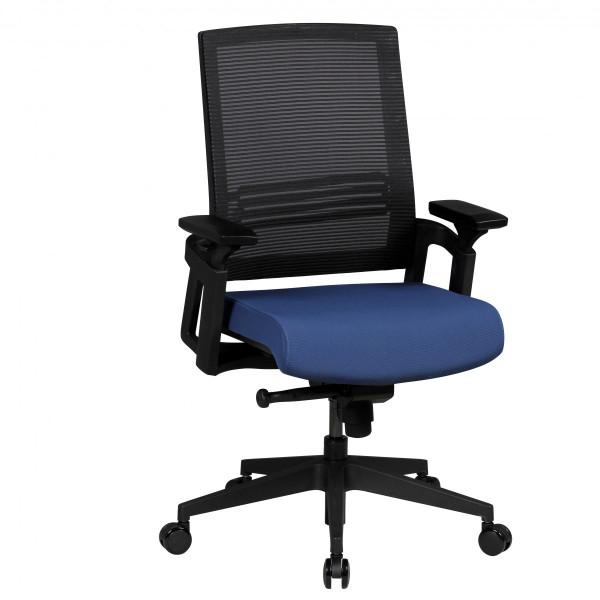 AMSTYLE Bürostuhl APOLLO A2 Stoffbezug Schreibtischstuhl Armlehne blau Chefsessel 120kg