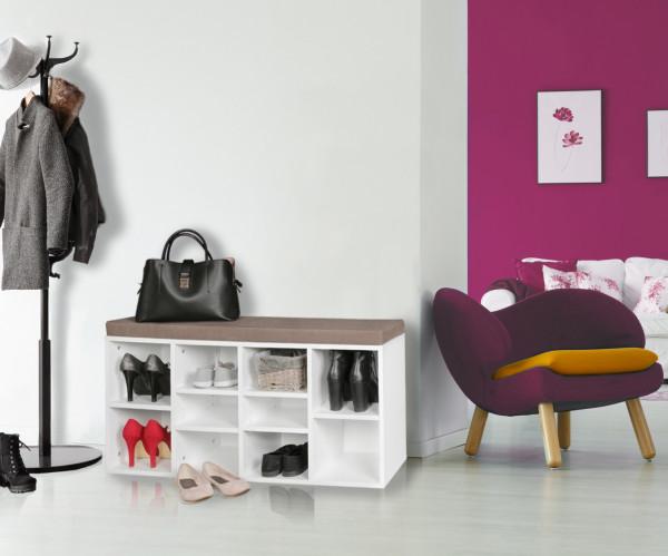 WOHNLING Schuhbank mit Sitzauflage LAURA weiß Flurbank   Sitzbank mit Regalfächer