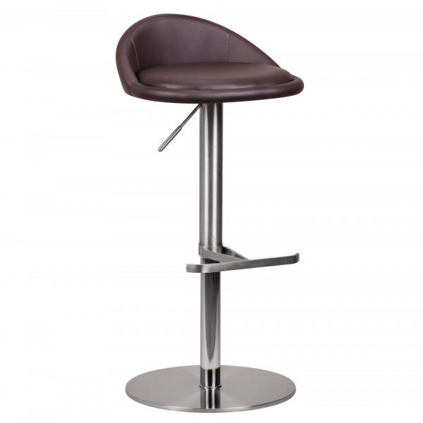 WOHNLING Barhocker Braun Edelstahl höhenverstellbare Sitzhöhe 54-79 cm