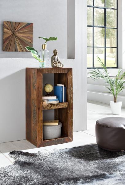 WOHNLING Bücherregal RIVERBOAT | Massivholz Regal mit 2 Ebenen
