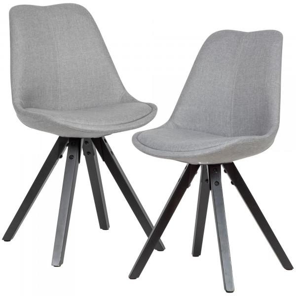 WOHNLING 2er Set Esszimmerstuhl Hellgrau mit schwarzen Beinen Stuhl Skandinavisch