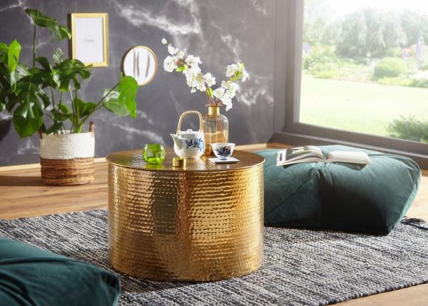 WOHNLING Couchtisch RAHI 61 x 40,5 x 61 cm Aluminium Gold Beistelltisch Orientalisch Rund