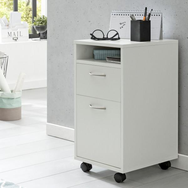 WOHNLING Rollcontainer Weiß 33x63x38 cm Schreibtisch-Unterschrank Holz | Roll-Kommode Modern