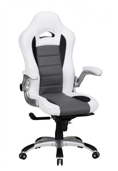 AMSTYLE Bürostuhl RACING Bezug Kunstleder Schreibtischstuhl Weiß Race 120 kg Chefsessel