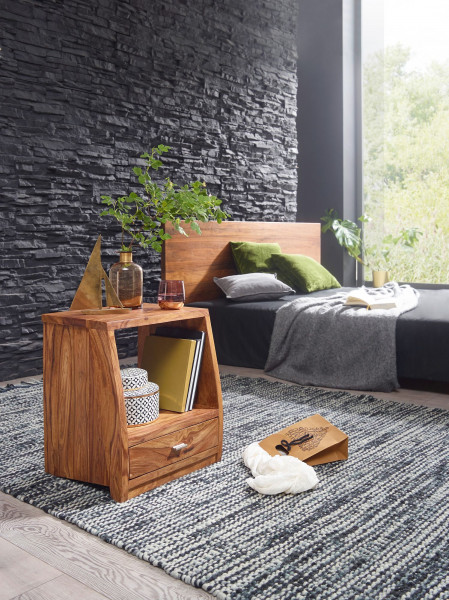 WOHNLING Nachttisch MUMBAI Massiv-Holz Sheesham Nacht-Kommode 53 cm