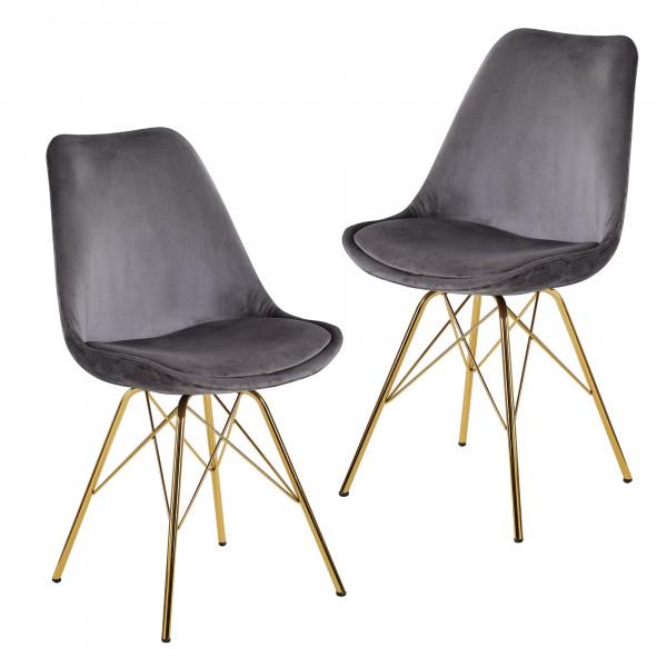 WOHNLING Esszimmerstuhl 2er Set Samt Grau Küchenstuhl mit goldenen Beinen