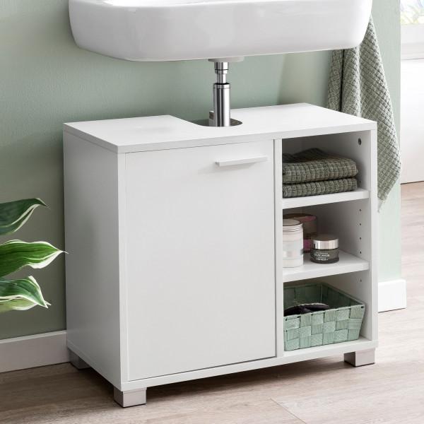 WOHNLING Waschbeckenunterschrank GEORG Weiß Badschrank mit Tür
