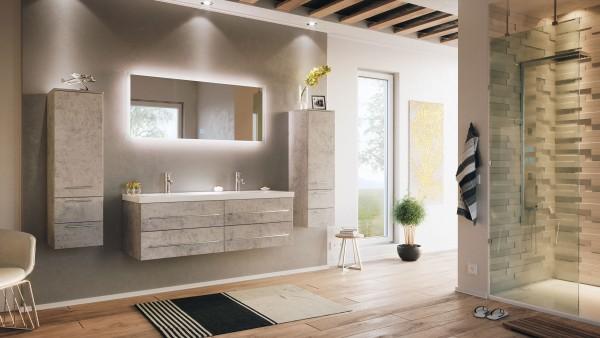 Posseik Badmöbelset Aurelion XL 140 cm 2 Hochschränke inkl. LED Spiegel beton optik