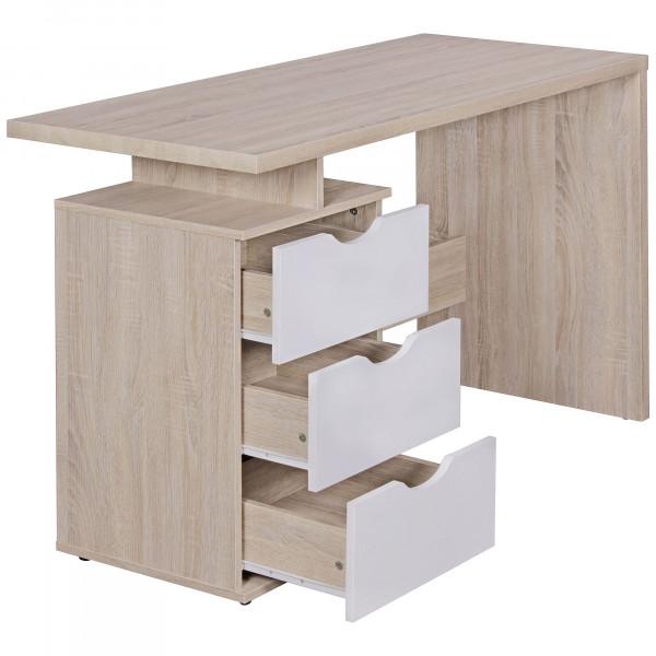 WOHNLING Schreibtisch SAMO 120 x 76 x 53 cm mit 3 Schubladen in Sonoma Weiß