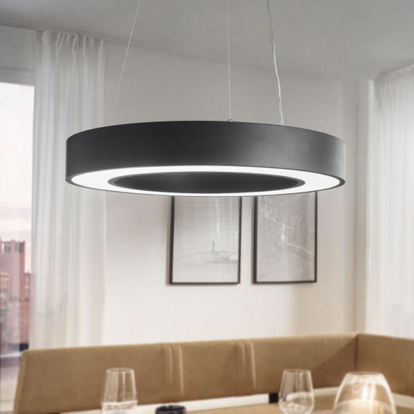 WOHNLING LED-Deckenleuchte CIRCLE rund matt schwarz Metall EEK A+ Büro-Deckenlampe 48 Watt