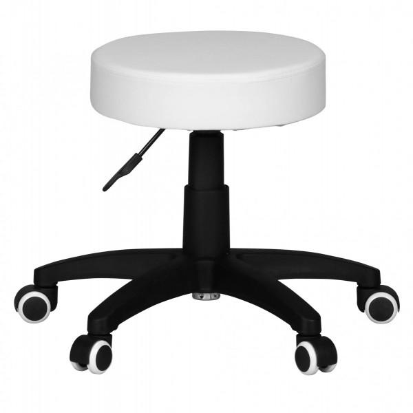 AMSTYLE Hocker LEON S Design Arbeitshocker Kunstleder Weiß Sitzhocker mit Rollen Rollhocker