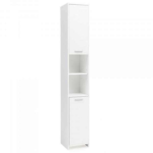 WOHNLING Badschrank Bubble Modern 30,5 x 190 x 30 cm Weiß | Badezimmerschrank mit 2 Türen