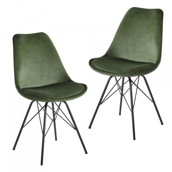 WOHNLING Esszimmerstuhl 2er Set Samt Grün Küchenstuhl mit schwarzen Beinen