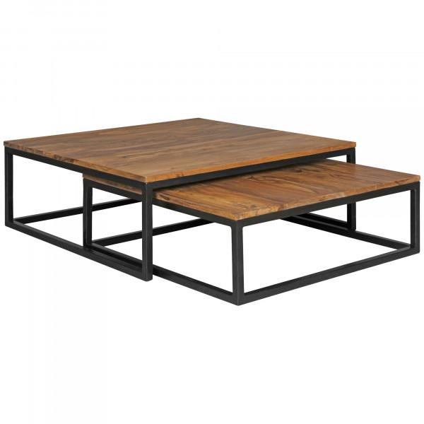 WOHNLING Couchtisch AKOLA 2-teilig Massivholz 75 x 75 x 27 cm | Design Wohnzimmertisch Sheesham Holz