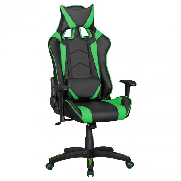 AMSTYLE® Bürostuhl SCORE Leder-Optik Schwarz / Grün Schreibtischstuhl Chefsessel Gaming Chair