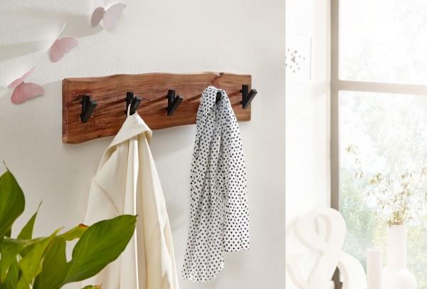 Wohnling Design Wandgarderobe Akazie Massivholz / Metall 60 x 17 x 9 cm