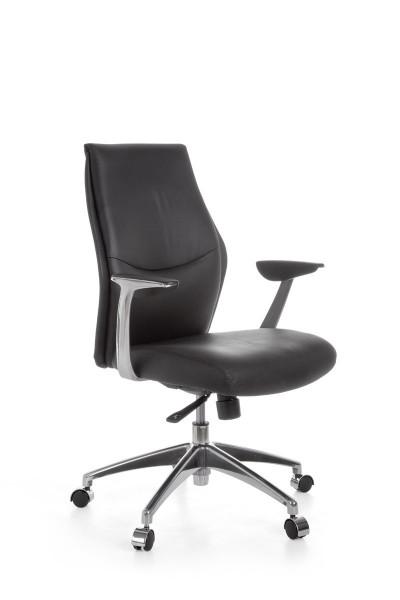 AMSTYLE Bürostuhl OXFORD 2 Echtleder Schwarz Schreibtischstuhl X-XL 120kg Synchronmechanik