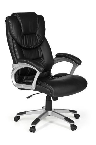 AMSTYLE Bürostuhl MADRID Kunstleder Schwarz ergonomisch mit Kopfstütze | Design Chefsessel