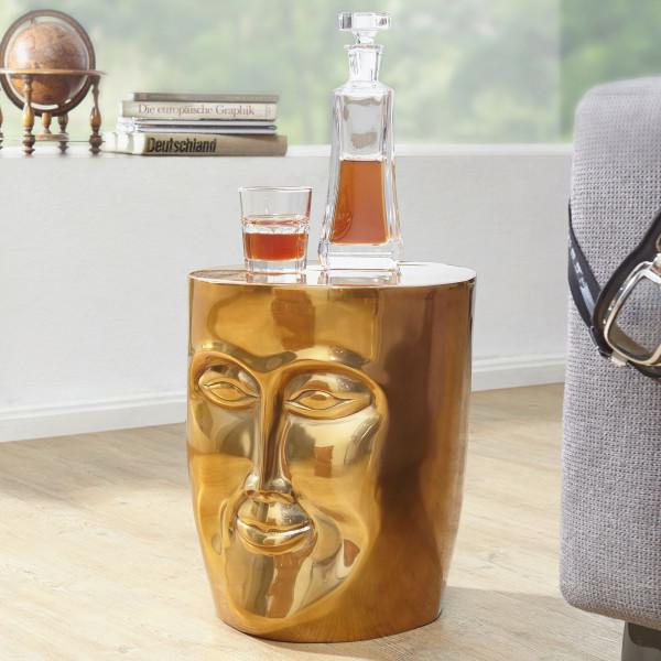 WOHNLING Beistelltisch FACE 35x35x39 cm Aluminium Couchtisch Gold orientalisch | Sofatisch