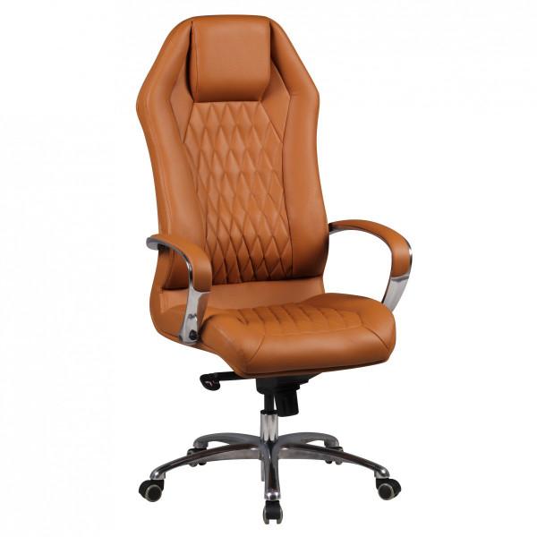 AMSTYLE Bürostuhl MONTEREY Echt-Leder Caramel Schreibtischstuhl 120KG Chefsessel hohe Rückenlehne