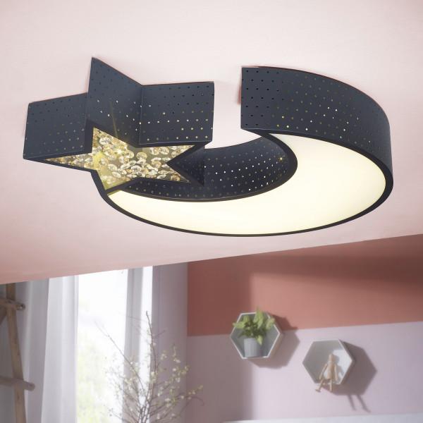 WOHNLING LED-Deckenleuchte NIGHTSKY Metall A+ Deckenlampe Mond & Stern schwarz