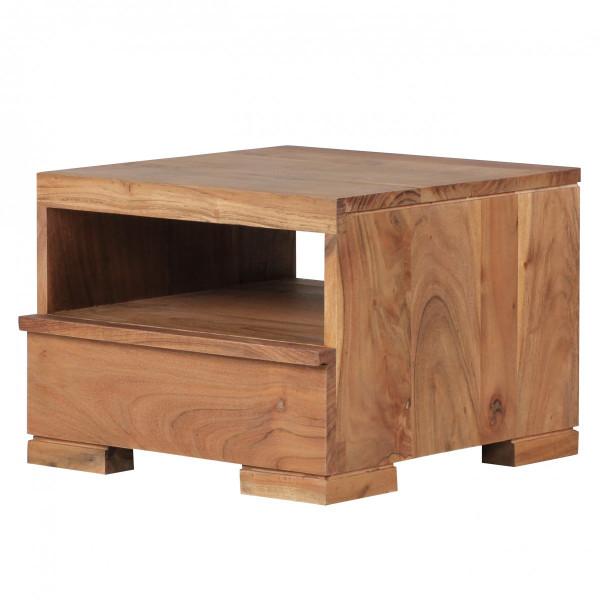 WOHNLING Nachttisch MUMBAI Massiv-Holz Akazie Nacht-Kommode 30 cm